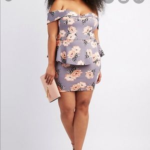 plus size floral off-the-shoulder peplum dress